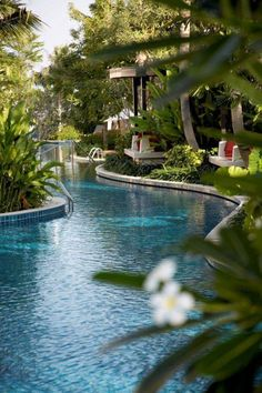 Beautiful Swimming Pool Garden Design Ideas Landscaping a pool location is a different obstacle for everybody, just as the style of each home and also garden is unique.Mediterranean landscape layout and pool incorporate functions that give t… Diy Swimming Pool, Luxury Swimming Pools, Natural Swimming Pools, Luxury Pools, Dream Pools, Swimming Pool Designs, Lazy River Pool, Piscina Diy, Pool Garden