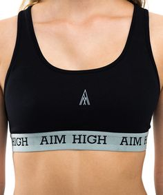 AIM HIGH Black Sports Bra by AIM HIGH #zulily #zulilyfinds