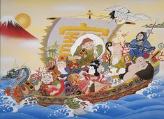 Meet the Seven Lucky Gods of Japan! Costumes Do Japão, Japan Info, Japanese Legends, Pearl Steven, Japanese Mythology, Art Japonais, Buddhist Art, Fabric Wallpaper, Chinese Art