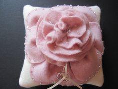 Ring Bearer Pillow Wedding Ivory Pink rose flower choose your colors #ringbearerpillow by ArtisanFeltStudio on Etsy, $50.00