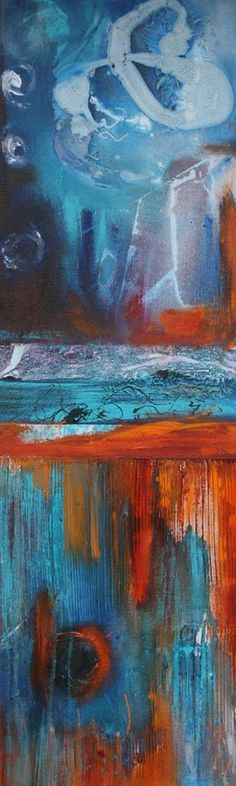 """Surrounded by Fires"", 12 x 36″, Acrylic, Mixed Media by Pamela K Jamieson $275"
