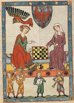 "14th century (ca. 1300-1340) Switzerland - Zürich Universitätsbibliothek Heidelberg Cod. Pal. germ. 848: Große Heidelberger Liederhandschrift (Codex Manesse) fol. 13r - Markgraf Otto IV von Brandenburg (aka ""Otto with the arrow"") playing chess with a Lady (one of his two wives?)"