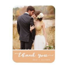 Peach Custom Photo Wedding Thank You Magnets