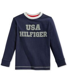 Tommy Hilfiger Little Boys' Long-Sleeve Usa Tee