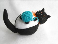Pincushion Cat With Ball of Yarn by FatCatCrafts