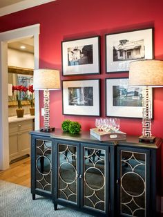 Use black white or sepia old family photos above buffet - Dining Room Pictures From HGTV Smart Home 2014 on HGTV