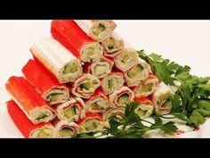 Рецепты праздничных закусок. Закуска КРАБОВЫЕ РУЛЕТИКИ. - YouTube