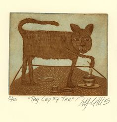 etching, My Cup of tea, cat, mouse, tea break, sepia, brown, blue, humor, cup, table, kitchen, home interior, cat art, printmaking, kitty