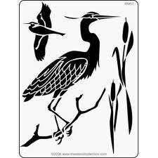Blue heron stencil