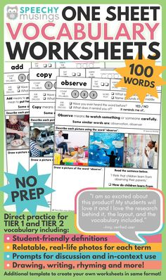 These speech therapy vocabulary worksheets give multiple exposures to both tier 1 and tier 2 vocabulary words. Perfect for providing direct vocabulary instruction during speech and language therapy! They're evidence-based, effective, and take absolutely no prep work - just print and go! This file includes worksheets to target 100 different vocabulary words so you'll have print and go, no-prepvocabulary activities that will last you for many years!