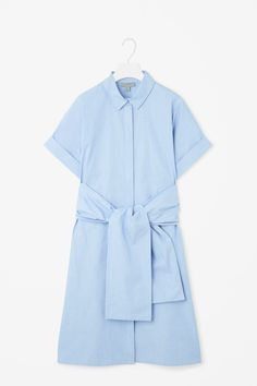 COS | Shirt dress with chunky tie —sample in chambray