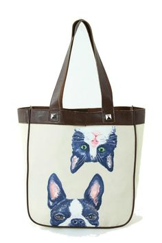 "Adorable tote bag featuring artwork by Ashley M. Magnetic Clasp closure and zipper pocket inside.  Measures: 12"" L x 4"" W x 13"" H  Dog Cat Tote by Comeco. Bags - Totes Portland Oregon"