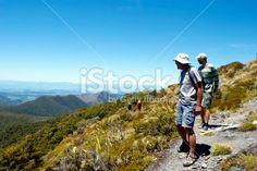Trampers on Mt Arthur Track, Motueka, New Zealand. Royalty Free Stock Photo