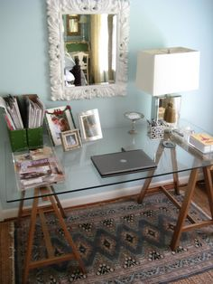 """Because it's ridiculously cheaper and not that difficult: Matters of Style: Ikea Hack: DIY """"Brass"""" Sawhorse Desks....cute workspace! Would love to have something like this"""