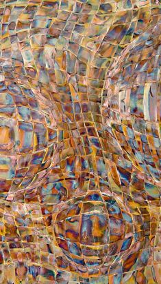 woven flame colored stripes of copper - Tightly Woven Metal Weavings Wall Art - by John Searles