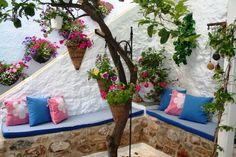 Holiday Rental-House-Old Village-Ermioni-Argolida-Peloponnese-Greece | Holiday rentals in Ermioni, Greece Greek Garden, Greece Holiday, Paros, Outdoor Furniture, Outdoor Decor, Ladder Decor, Outdoor Living, Beautiful Places, Relax