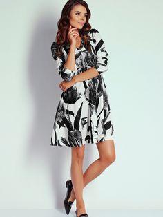 Women's dress NAOKO - fehér-fekete