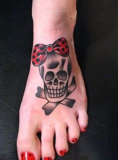 pretty skull tattoos for women | Cute Skull Tattoo on Foot / Pinterest