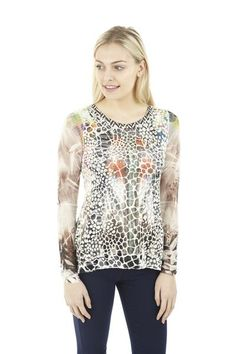 Shimmer Snake Print Top. A fitted long sleeve top in a snake effect print. Shimmer detailing and contrast sleeves make this a highly individual look.