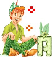 Alfabeto de Peter Pan sentado.