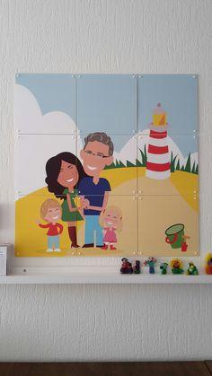 portret van een gezin.  nagetekend en gedrukt op een ixxi  #ixxi #cartoon #illustratie #gezin #portret