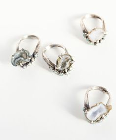 Silver Geode Lune Ring