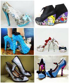 misfitwedding:  Alice In Wonderland Wedding Shoes There are lots more Alice In Wonderland shoes here