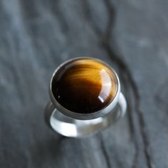 """Tiger eye and sterling silver ring, this deeply patterned chatoyant stone resembles a cross section of wood - made to order - """"Acacia Ring"""""""