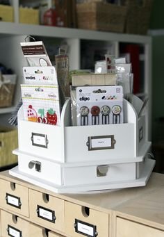 ♔ RECOLLECTIONS™ STORAGE DESKTOP CAROUSEL . . . BECAUSE A GIRL CAN NEVER HAVE ENOUGH CAROUSELS IN THE CRAFT STUDIO! THIS ONE CAN BE FOUND AT MICHAELS ($44). MICHAELS GIVES OUT 40% OFF COUPONS EVERY DAY SO YOU COULD GET THIS FOR $22. BUT THERE ARE MANY MORE CAROUSELS THAT CAN BE ORDERED FROM AMAZON, TRY BOTH LINKS ATTACHED HERE. http://www.amazon.com/s/ref=nb_sb_noss_2?url=search-alias%3Daps&field-keywords=Carousel+CRAFT