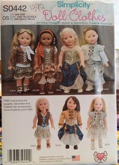 """Simplicity Pattern S0442 / 1392 18"""" Multicultural Doll Clothes  FS"""
