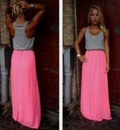 Pink Patchwork Gey Buttons Round Neck Streetwear Maxi Dress