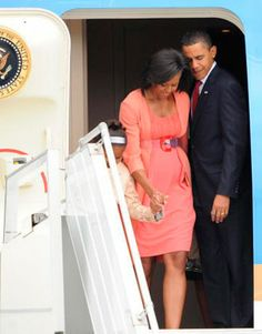 Michelle Obama and The President as they exit Air Force One