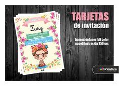 Cumple de Zury Invitaciones #fridaKahlo  #PartyKids #Invitations