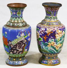Lot 492: Asian Cloisonne Floor Vases; Two contemporary items including a vase with a peacock motif and another with floral decoration