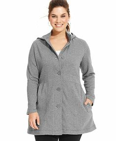 Style&co. Sport Plus Size Jacket, Hooded Active Button-Front