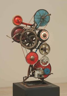 Jean Tinguely, My Wheels, metal, leather belt, rubber, plastic, 103 x 65 x 40 cm, Ludwig Museum of Contemporary Art, Budapest, Hungary