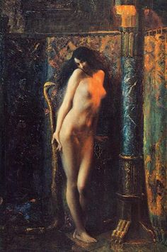 salammbo painting by gaston bussiere, circa 1910
