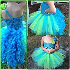 This dress could be a number of birds. Made up of lime green and turquoise tulle, chiffon flowers and blue feathers! Absolutely beautiful
