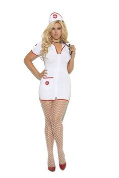 Costume-Doctor-Nurse-Plus-Size: Plus Size Head Nurse - 2 pc costume includes zip front mini dress and head piece White - Fabric/Material: Polyester Head Nurse - 2 pc. costume includes zip front mini dress and head piece. Nurse Costume, Costume Dress, New Halloween Costumes, Halloween Party, Halloween Couples, Halloween 2017, Halloween Ideas, Plus Size Costume, Plus Size Halloween