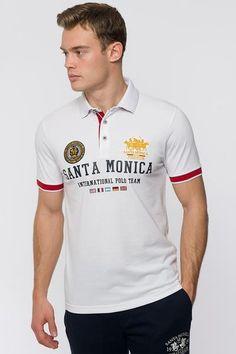 0d9495e0 SANTA MONICA POLO CLUB MENS STAKES POLO SHIRT WHITE - Santa Monica Polo Club