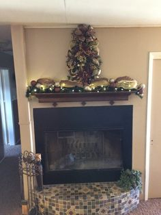 christmas fireplace mantel garland lighted swag elegant mesh swag