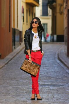Red skinnies with animal clutch and leather... So ready for fall... | Clutch…