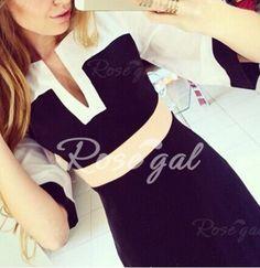 Stylish V-Neck Half Sleeve Spliced Women's Dress