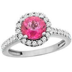 14K White Gold Natural Pink Topaz Ring Round 6mm Floating Halo Diamond, sizes 5 - 10 -- New and awesome product awaits you, Read it now  : Promise Rings Jewelry