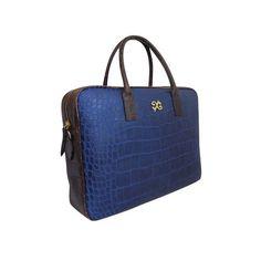 Charlotte laptop bag - Blue/Dark Brown crocodile p | Alexandra de Curtis