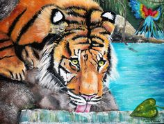 'Oasis' by Tara Richelle Tiger painting, tiger art, tropical oasis,jungle,wild tiger,stream,tiger in water,beautiful tiger, realistic tiger art,blue water,parrot,