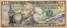 Vincent Van Gogh Dollar Bill Art by Vincent Van Gogh by James Charles