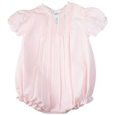 Feltman Brothers baby girl pink creeper with lace, puffed sleeves, and pintuck detail. Makes a great baby gift! http://www.feltmanbrothers.com/bubble-with-pintucks-lace/