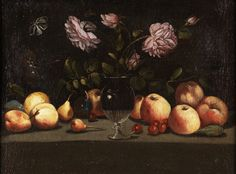 """CIRCULO DE JUAN VAN DER HAMEN,  S. XVII""""Jarrón con flores y frutas"""""""