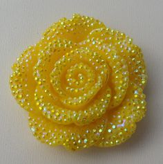 42mm Yellow Rhinestone Flower Pendant for Chunky by SofiasCottage